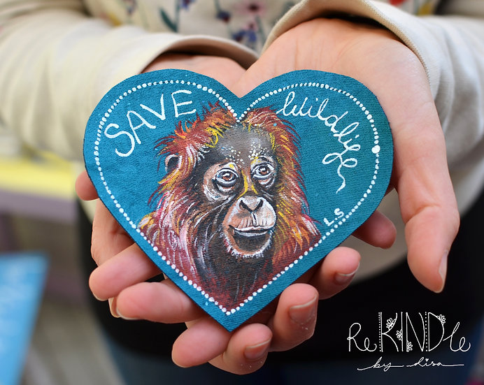 Hand Painted Vegan Orang-utan Sew On Patch 'Save Wildlife'
