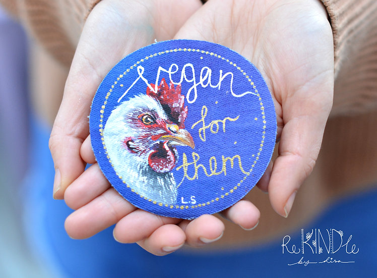 Hand Painted Vegan Sew on Patch Chicken