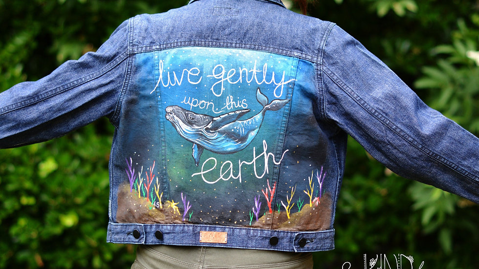 Hand Painted Denim Jacket UK 14 Whale