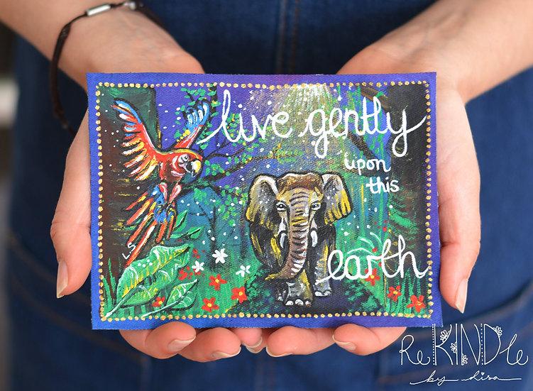 Vegan Painted Elephant Sew on Patch