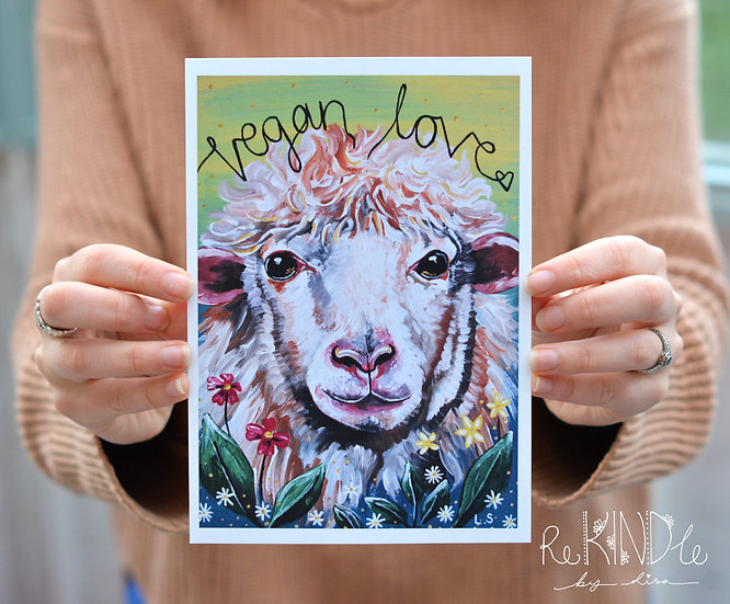 A5 Recycled 300gsm Card Print (Sheep)