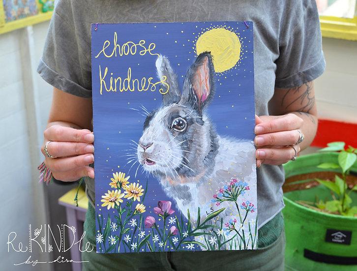 A4 Original Vegan Rabbit Painting on Recycled Hardboard 'Choose Kindness'