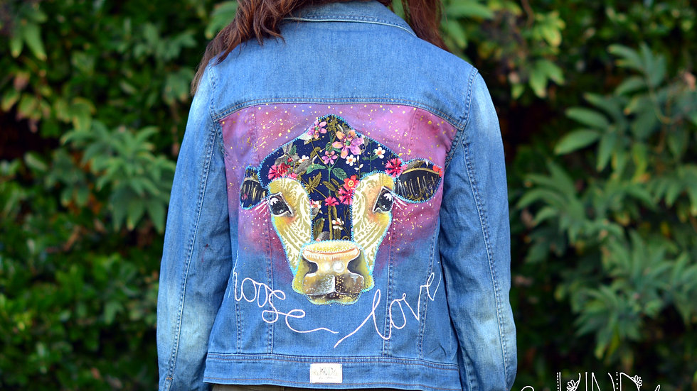 Hand painted, embellished Size UK 12 Vegan Jacket