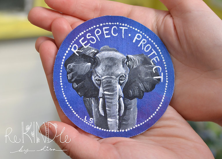 Hand Painted Vegan Elephant Sew On Patch