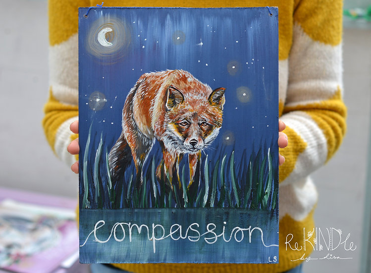 Recycled Hardboard Original Painting Fox