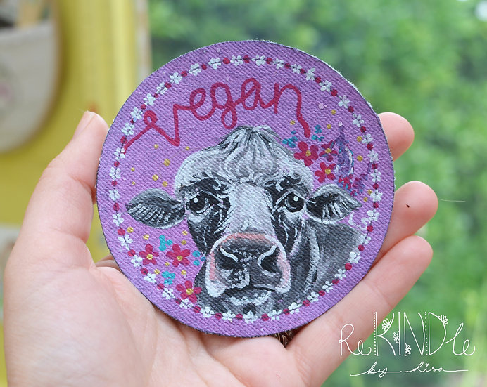 Hand Painted Vegan Cow Sew On Patch 'Vegan'