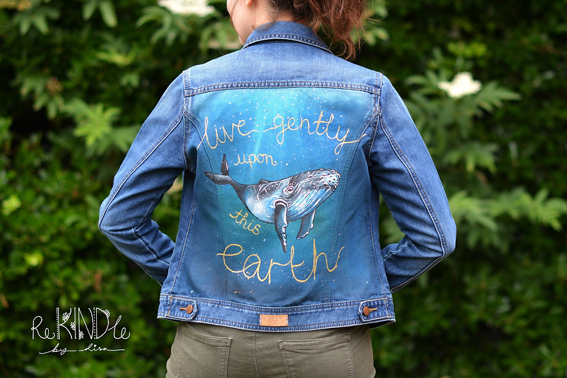 Hand Painted Denim Jacket UK 8 Whale