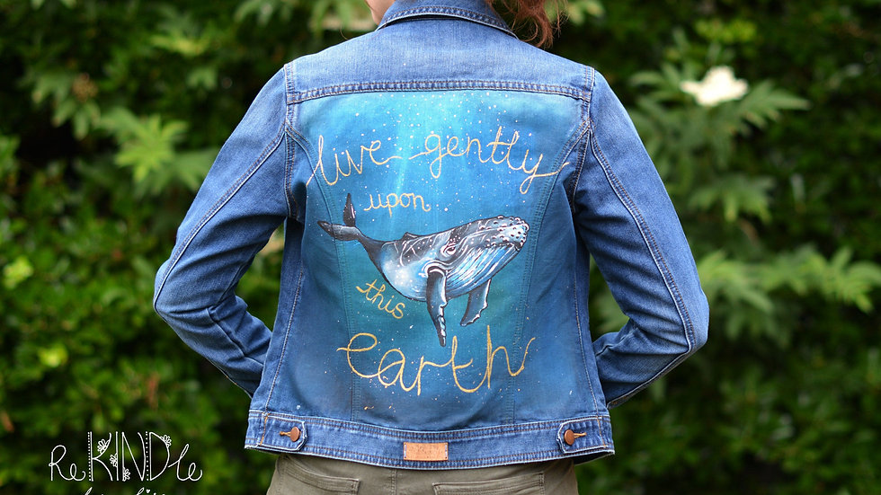 Hand Painted Denim Jacket UK 8 Whale
