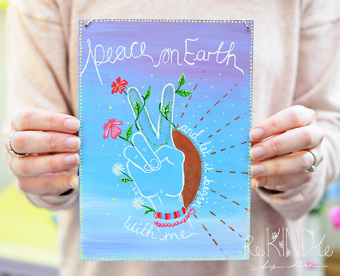 A5  Painting on Recycled Hardboard 'Peace on Earth'