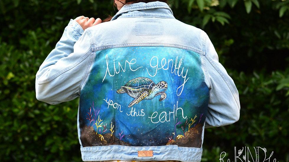 Hand Painted Denim Jacket UK 16-18 Turtle