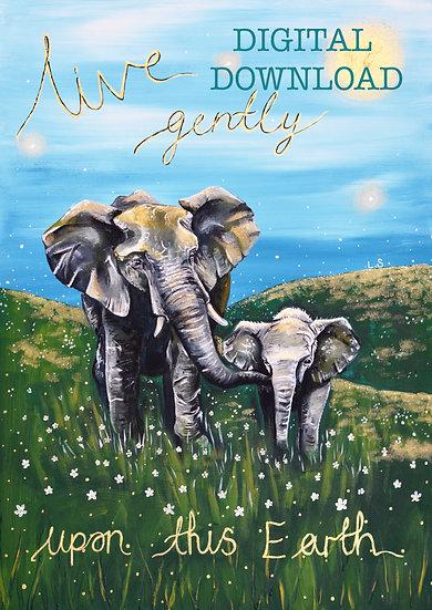 PRINTABLE  Elephants 'Live Gently' Vegan Art (Digital Download)