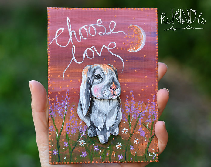 'Choose Love' Bunny 3D Upcycled Wall Art