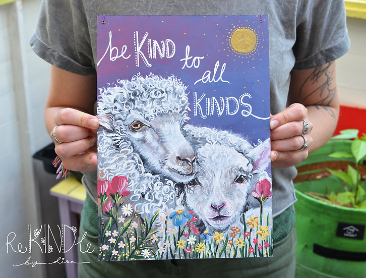A4 Original Vegan Painting on Recycled Hardboard 'Be Kind To All Kinds'