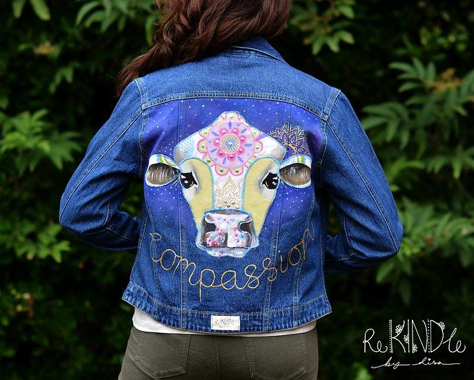 Embellished UpcycledVegan Jacket Size UK 10-12