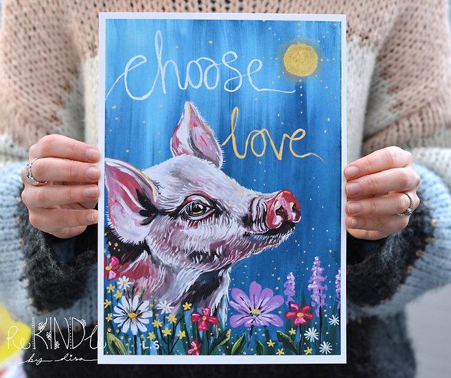 A5/ A4 Vegan, Recycled, Eco Friendly Pig Print