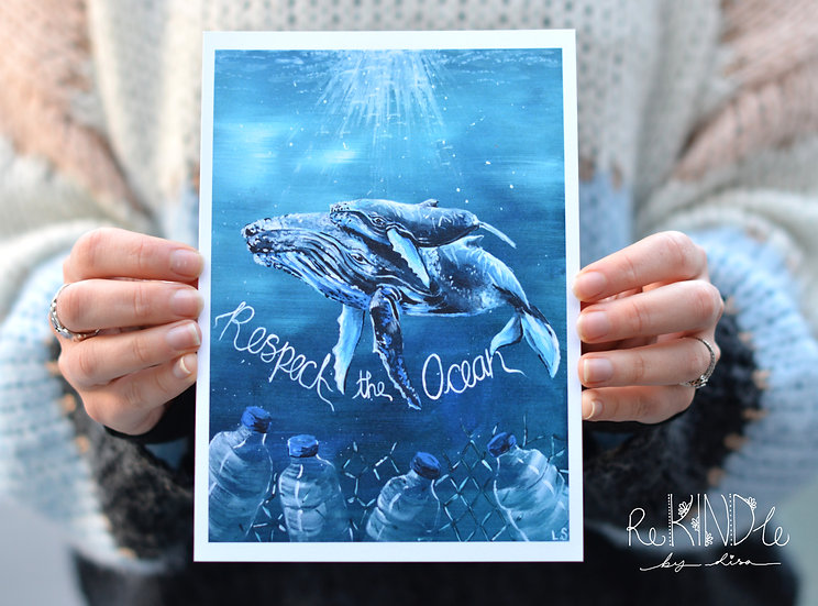 A5 Recycled Card Print 'Respect the Ocean'