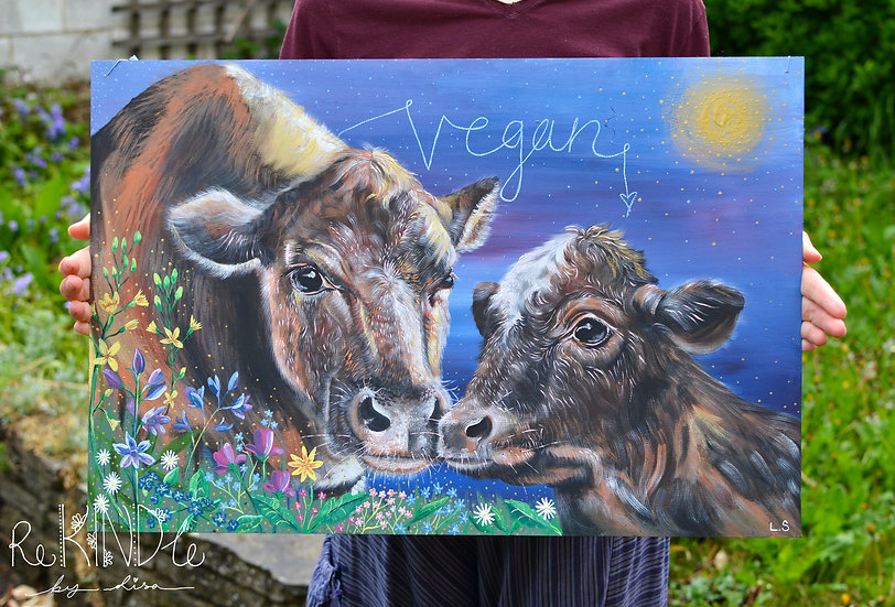 Large Original Vegan, Eco Friendly Painting Mother and Child