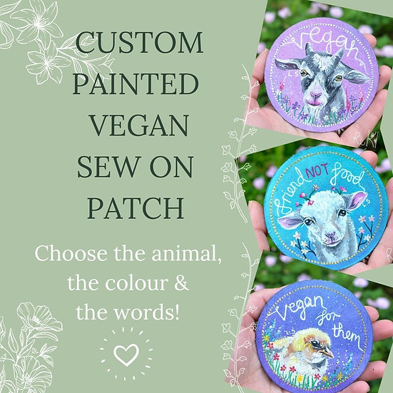 Custom Made, Hand Painted Vegan Circle Sew on Patch