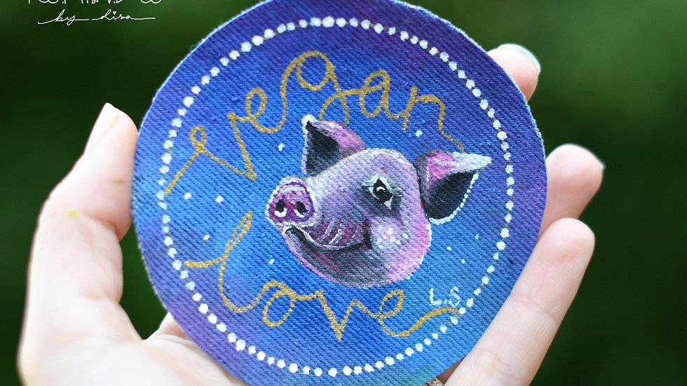 Hand Painted Pig Circle Sew On Patch