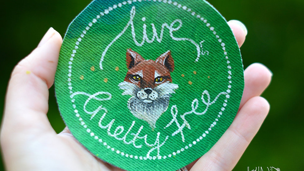 Hand Painted Fox Circle Sew On Patch