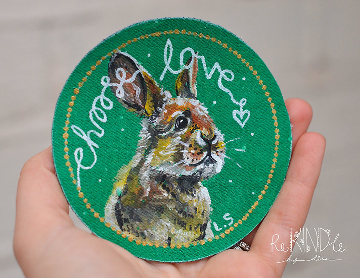 Hand Painted Rabbit Sew On Patch