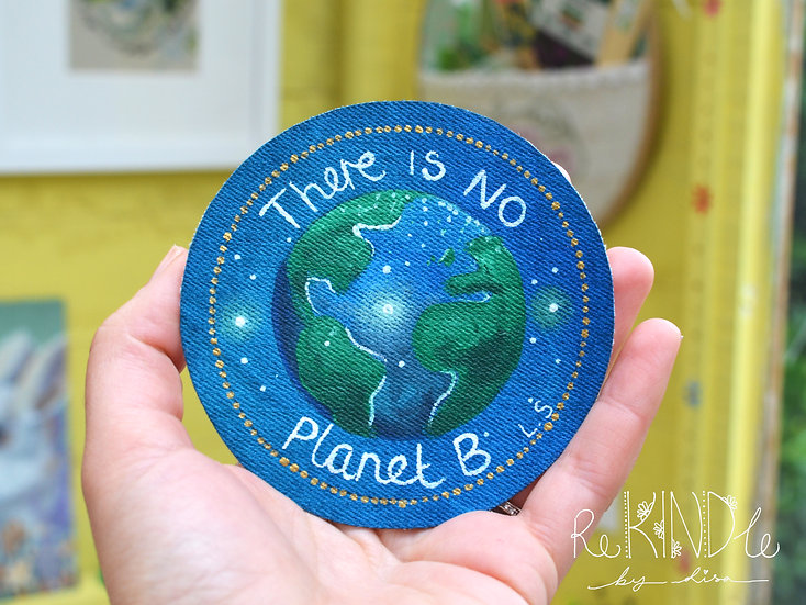 Hand Painted Vegan 'No Planet B' Earth Sew On Patch