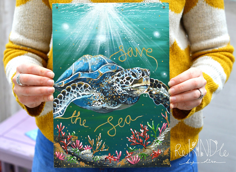 Recycled Hardboard Original Painting Turtle