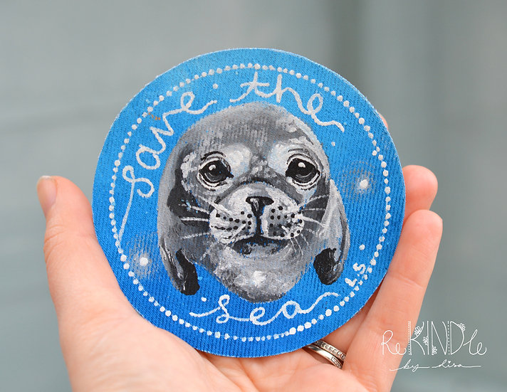 Hand Painted Seal Sew On Patch