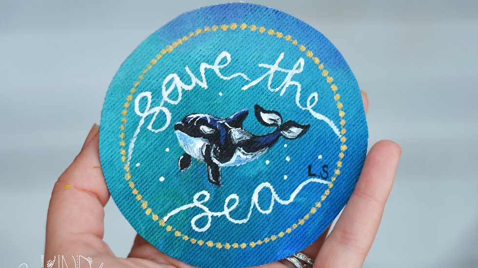 Hand Painted Orca Circle Sew On Patch