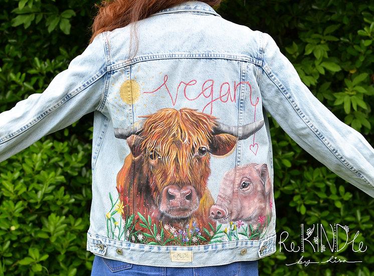 Size UK 8/10 Hand Painted, Upcycled, Vegan Denim Jacket Cow andPig