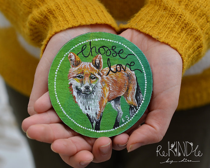 Hand Painted Vegan Sew on Patch Circle Fox