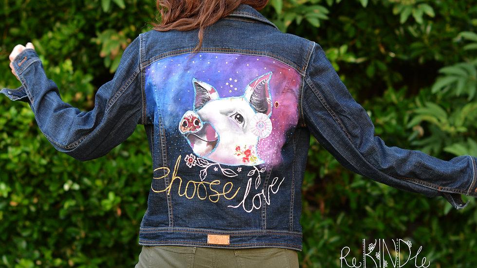 Hand painted, embellished Size UK 12 Vegan Pig Jacket