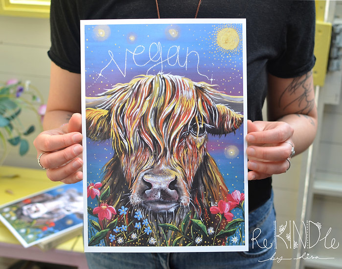 Eco Friendly, Vegan  A4 Recycled Print Highland Cow