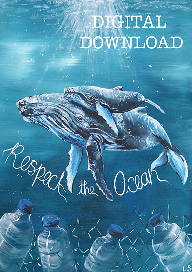PRINTABLE  Whales 'Respect the Ocean' Art (Digital Download)