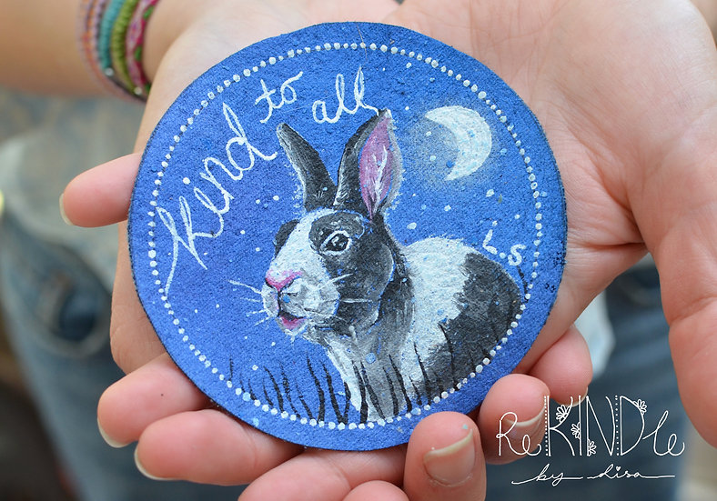 Hand Painted Vegan Sew on Patch Rabbit 'Kind to all'