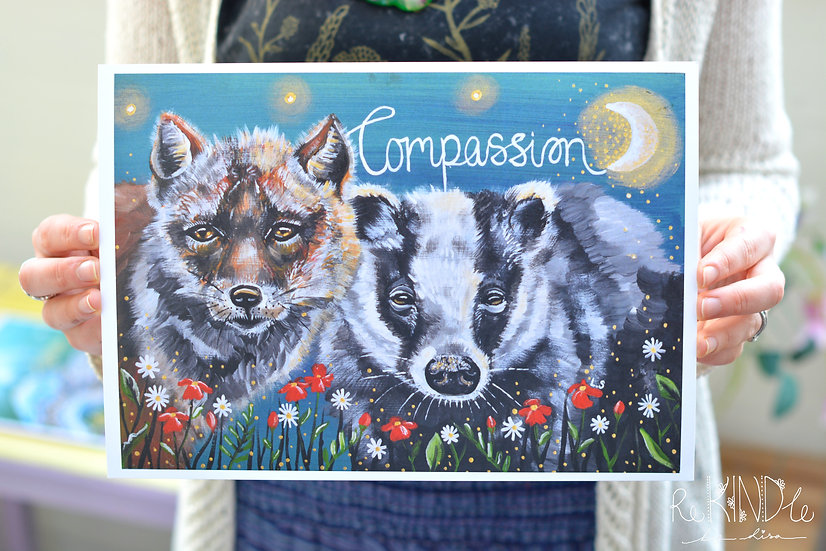 A5/ A4 Vegan, Eco Friendly, Recycled Print Fox & Badger