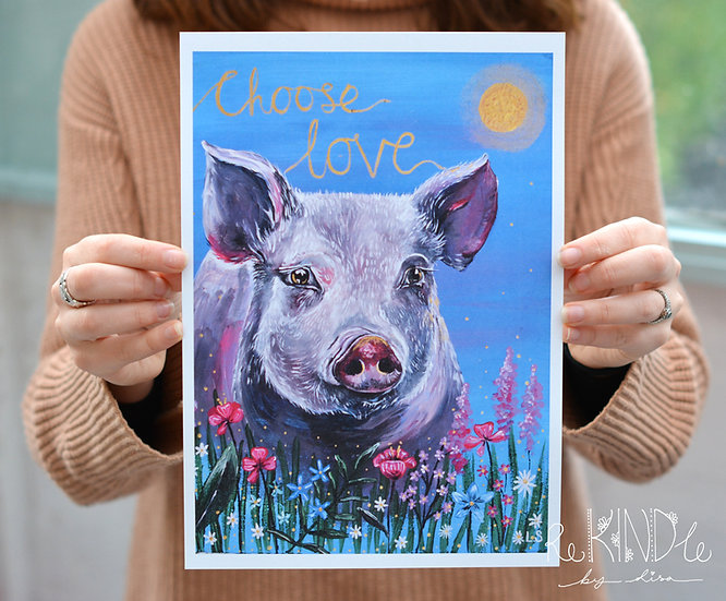A4 Vegan, Eco friendly Pig Print on Recycled Card