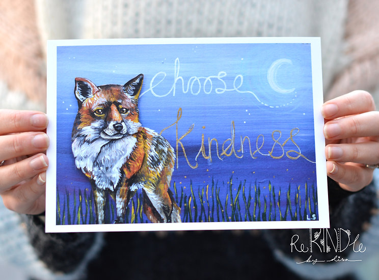A5 Recycled Card, eco friendly Print 'Fox Choose Kindness'