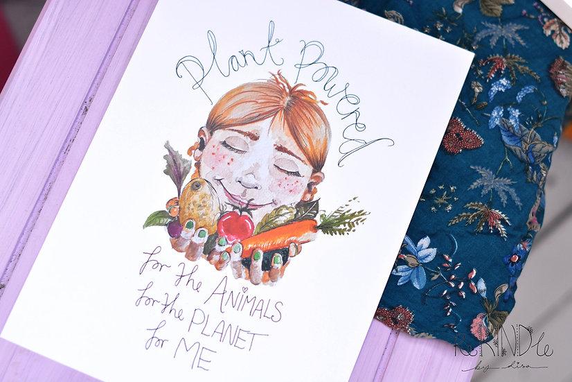 A4 Vegan Art Print 'Plant Powered'
