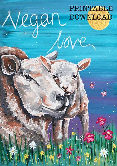 PRINTABLE  'Sheep and Lamb' Vegan Art (Digital Download)