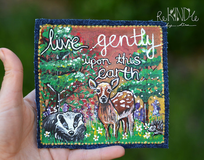 Painted Deer 'Live Gently' Sew on Patch