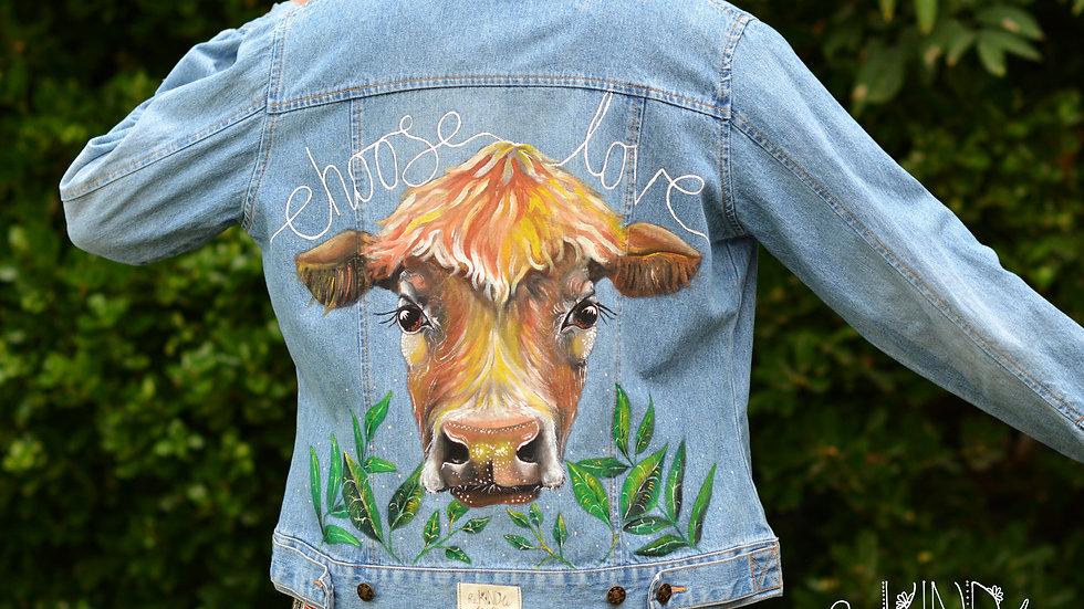 Hand painted, embellished Size UK 14 Vegan Jacket