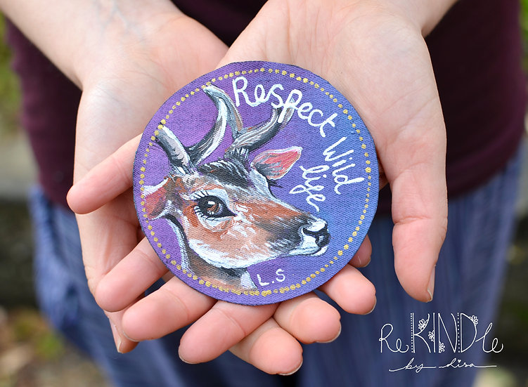 Hand Painted Vegan Deer Sew On Patch
