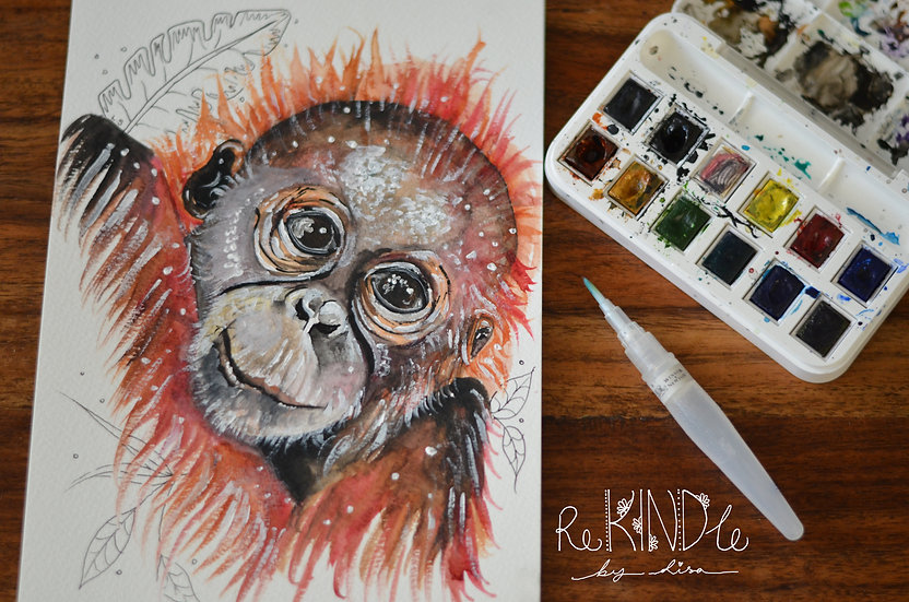 Original Watercolour Painting (Orangutan)