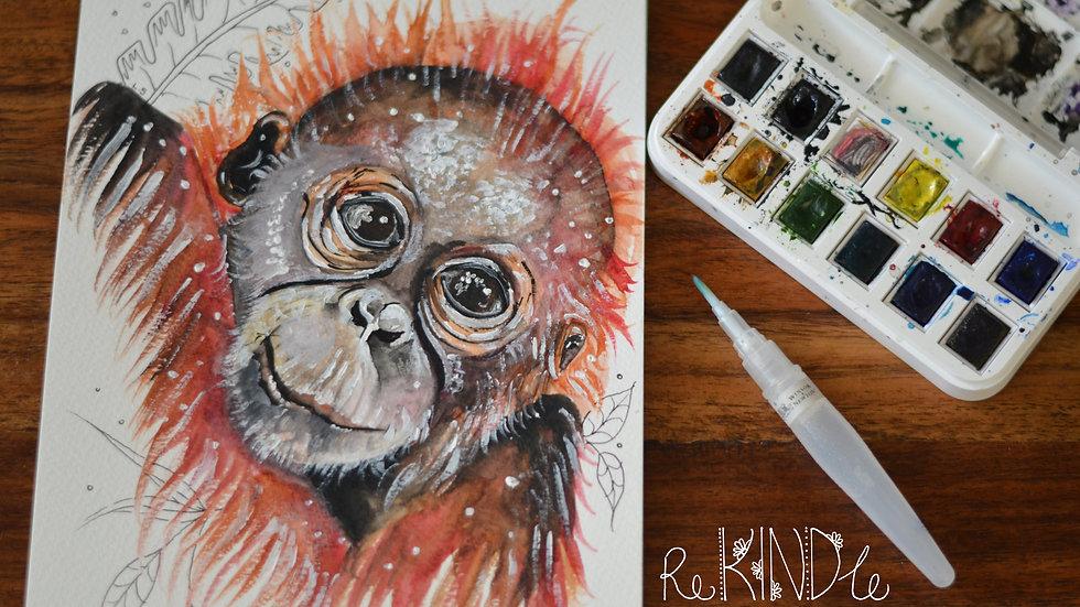 Original Watercolour Painting (Orangutan)