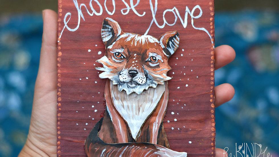 'Choose Love' Fox 3D Upcycled Wall Art