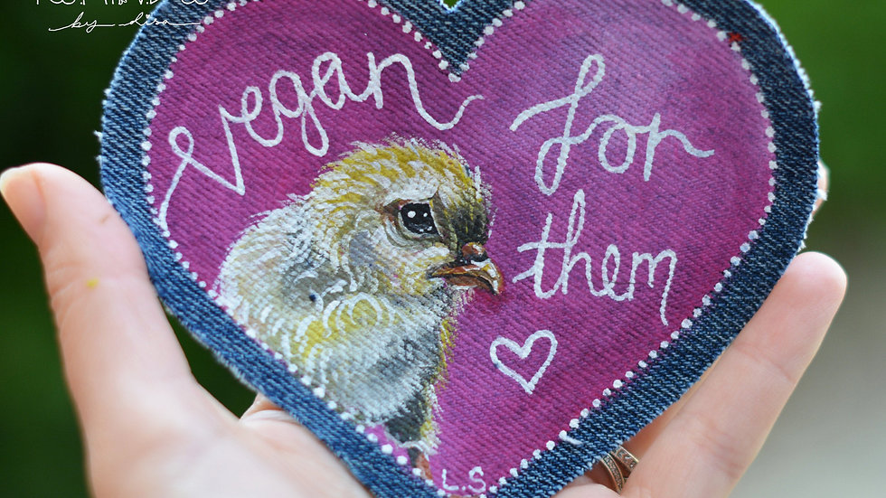Hand Painted Chick Heart Patch