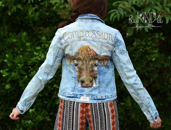 Size UK 10 Upcycled, Hand Painted Vegan Denim Jacket