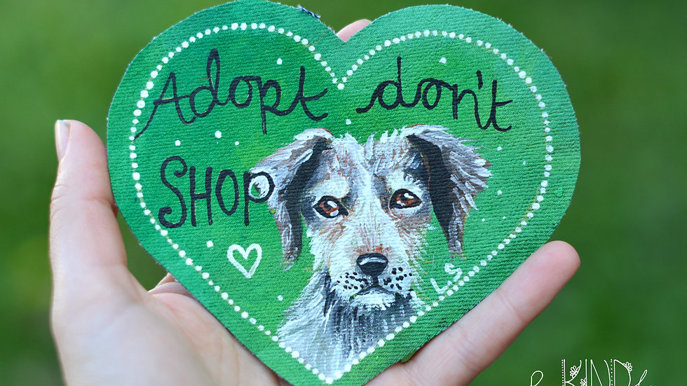 Hand Painted 'Adopt Don't Shop'  Heart Patch