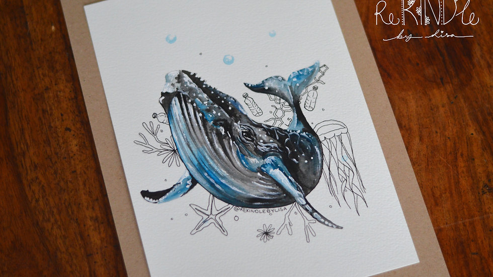 Original Watercolour Painting (Whale)